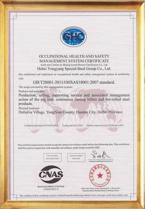 Сертификат системы менеджмента безопасности и охраны труда